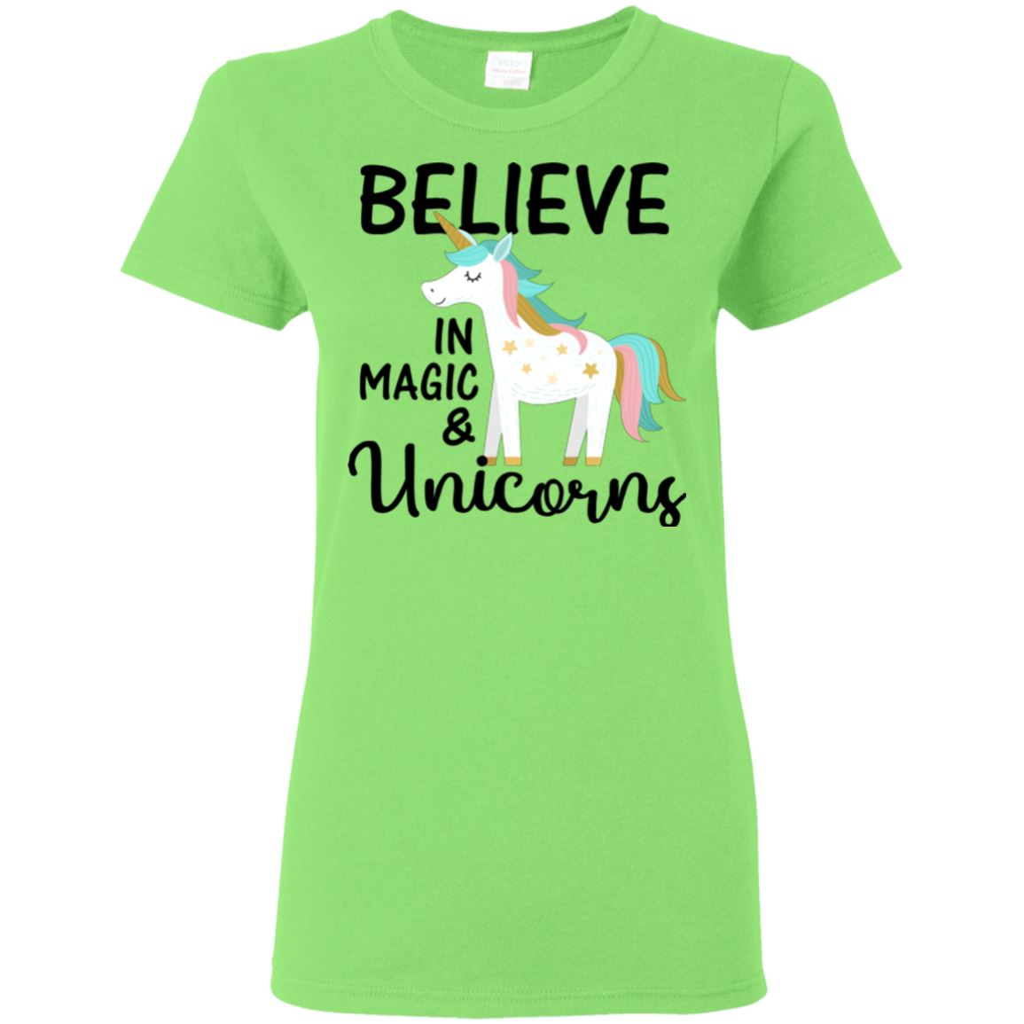 Believe In Magic & Unicorns Ladies T-Shirt Apparel Lime S