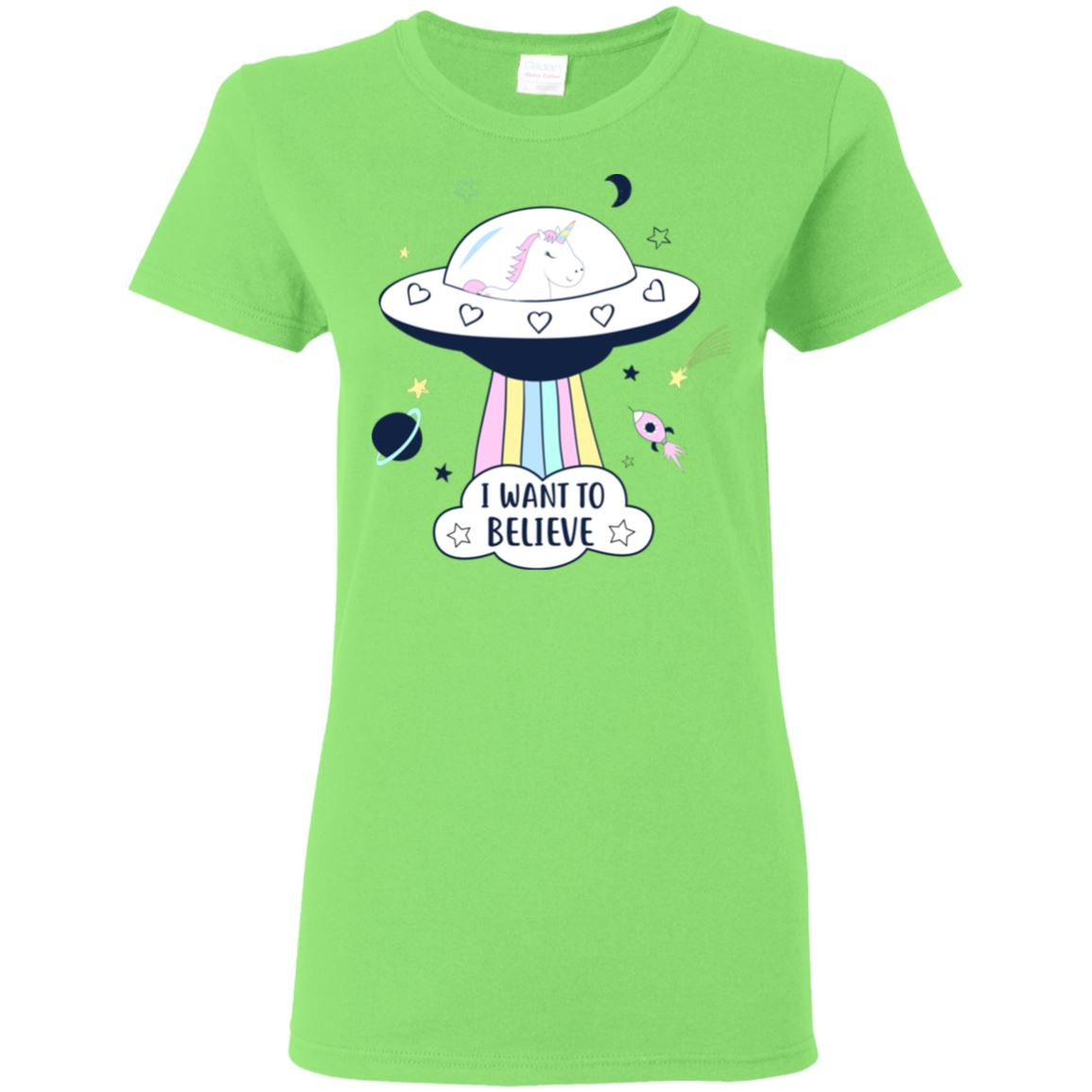 I Want To Believe Unicorn Women's T-Shirt T-Shirts Lime S