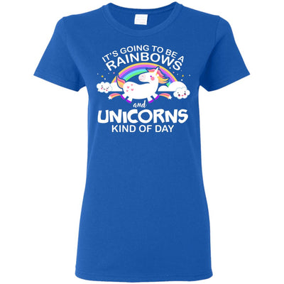 Unicorn & Rainbow Kind of Day Women's T-Shirt Apparel Royal S