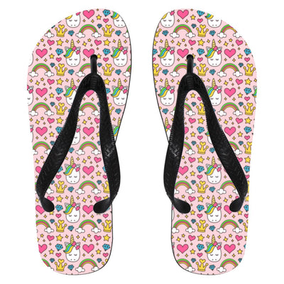 Diamond Unicorn Flip Flops Apparel Small White