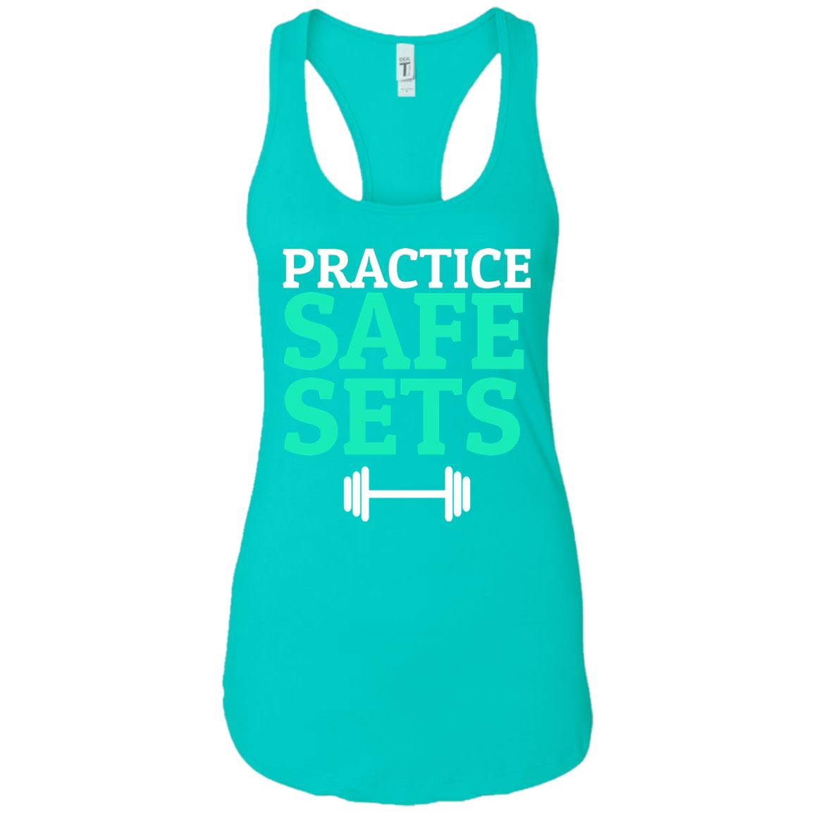 Practice Safe Sets Womens Racerback Tank T-Shirts Tahiti Blue X-Small