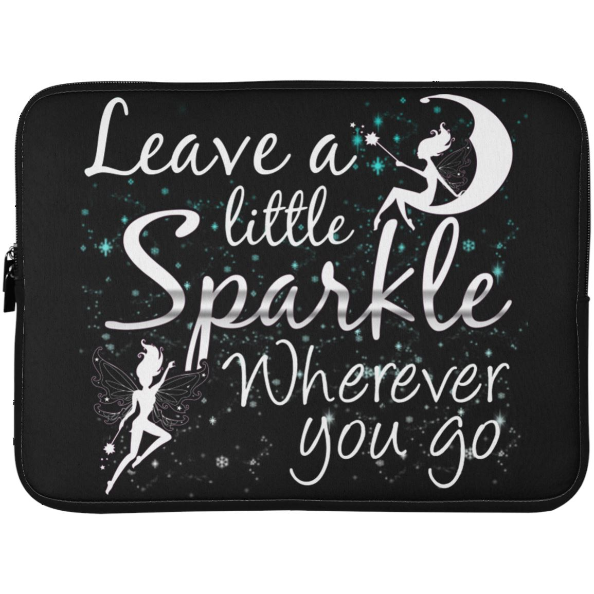 Leave A Little Sparkle Fairy Laptop Sleeve Apparel Laptop Sleeve - 15 Inch Black One Size