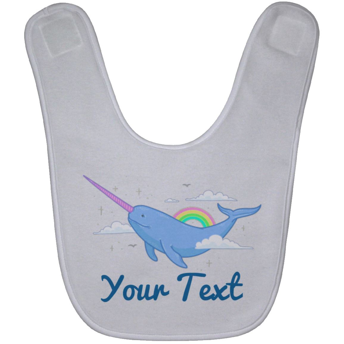 Personalized Magical Narwhal Baby Bib Mermaid Baby Items White