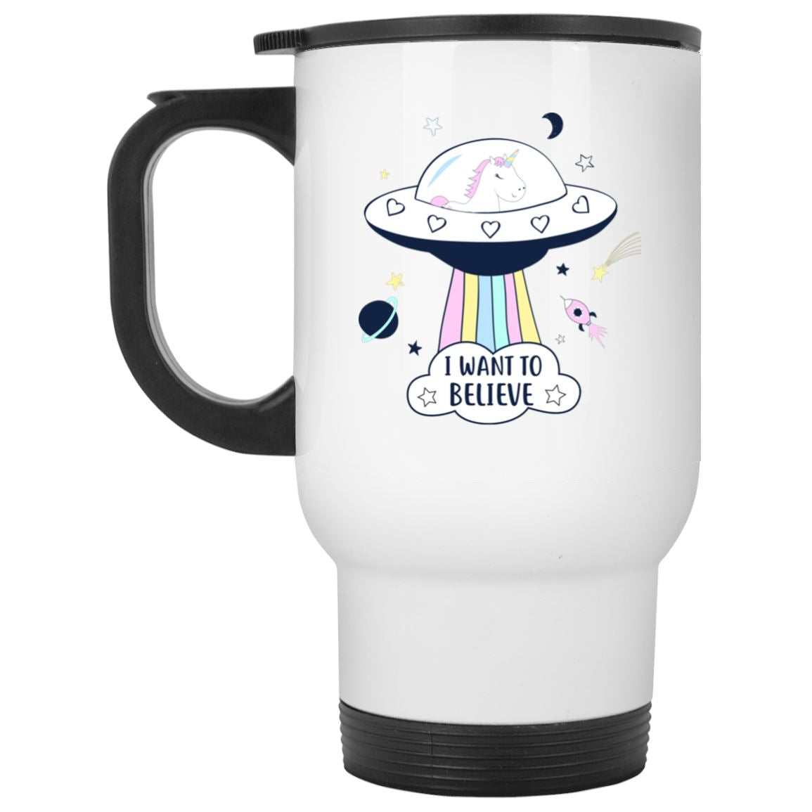 I Want To Believe Unicorn White Travel Mug Drinkware White One Size