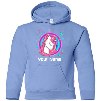Personalized Magical Unicorn Youth Hoodie Sweatshirts Carolina Blue Youth Small