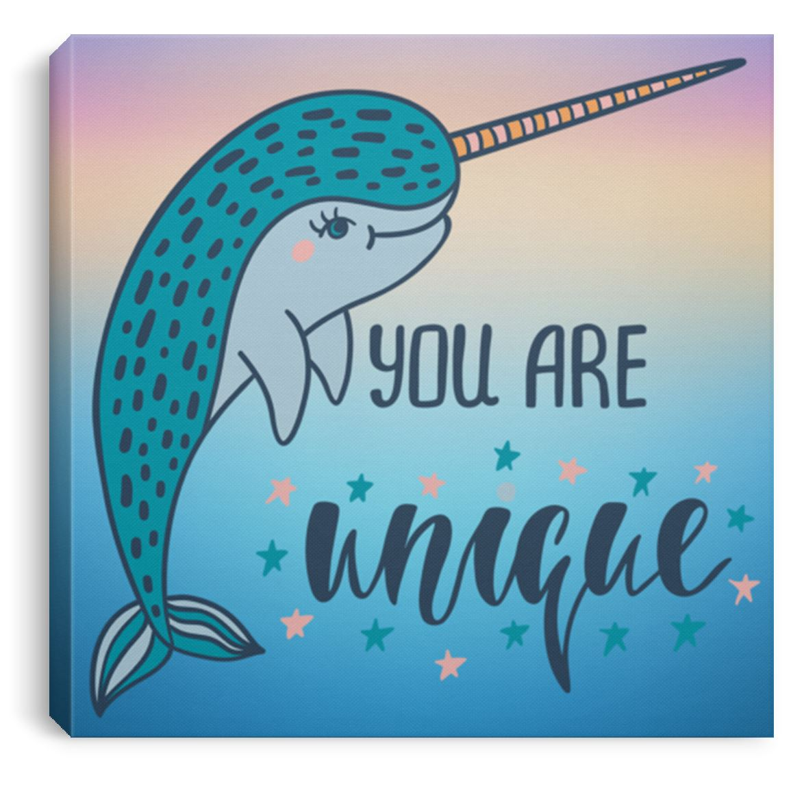 "You Are Unique Narwhal Canvas Art Print Mermaid Home Decor 8"" x 8"""