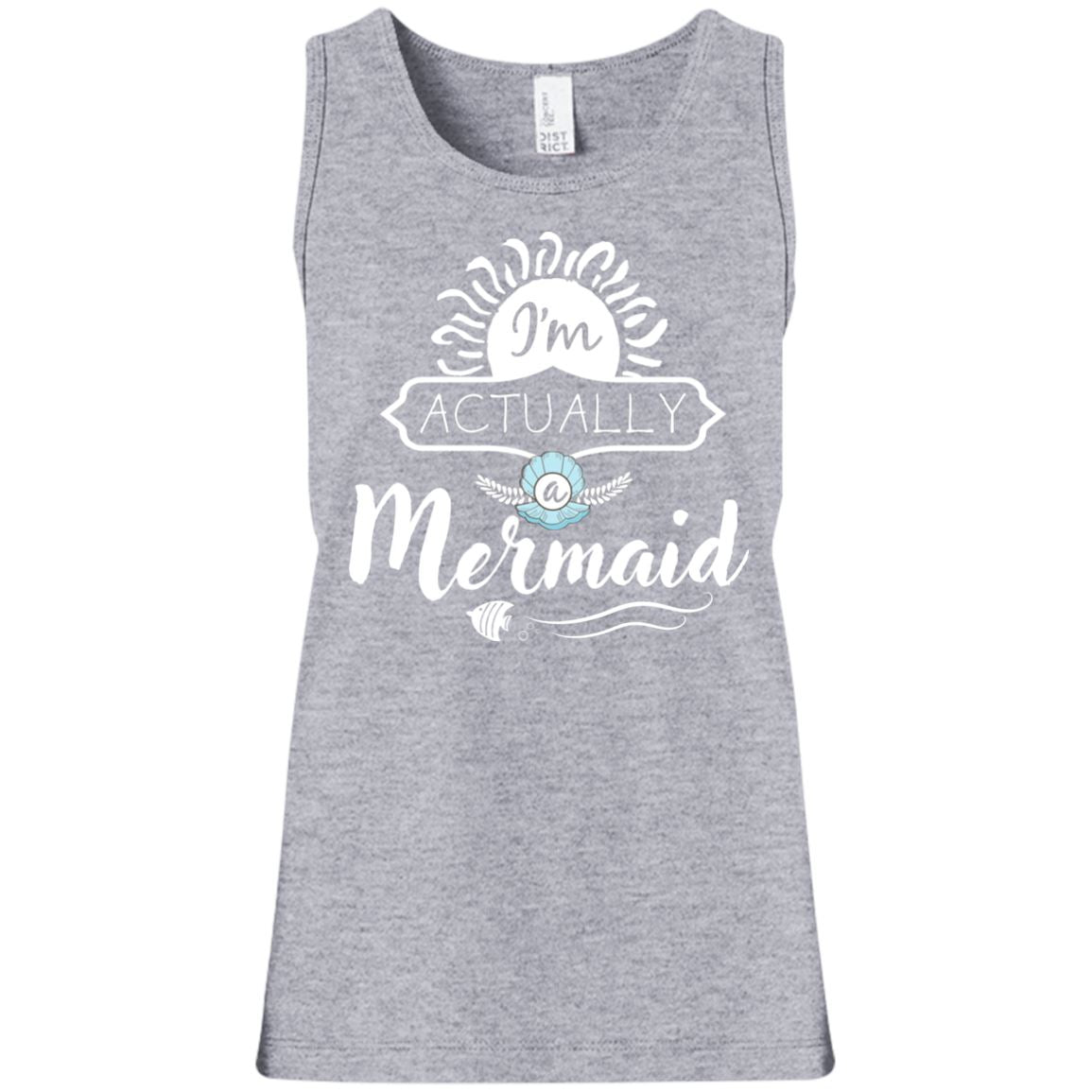 I'm Actually A Mermaid Girls Tank Top Mermaid Apparel Heather Grey YXS