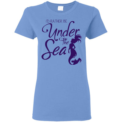 I'd Rather Be Under The Sea Ladies T-Shirt Mermaid Apparel Carolina Blue S