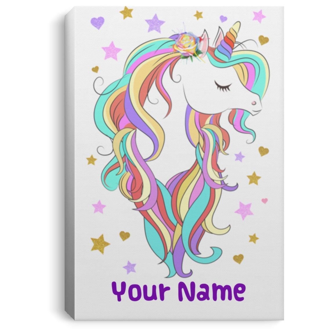 Personalized Unicorn Portrait Art Canvas Home Decor 8 x 12