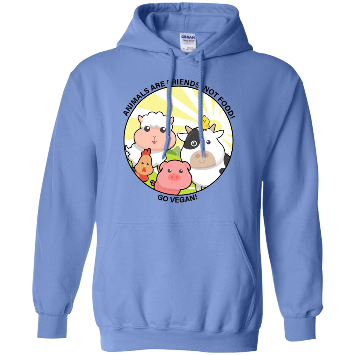 Animals Are Friends Apparel Unisex Pullover Hoodie Carolina Blue S