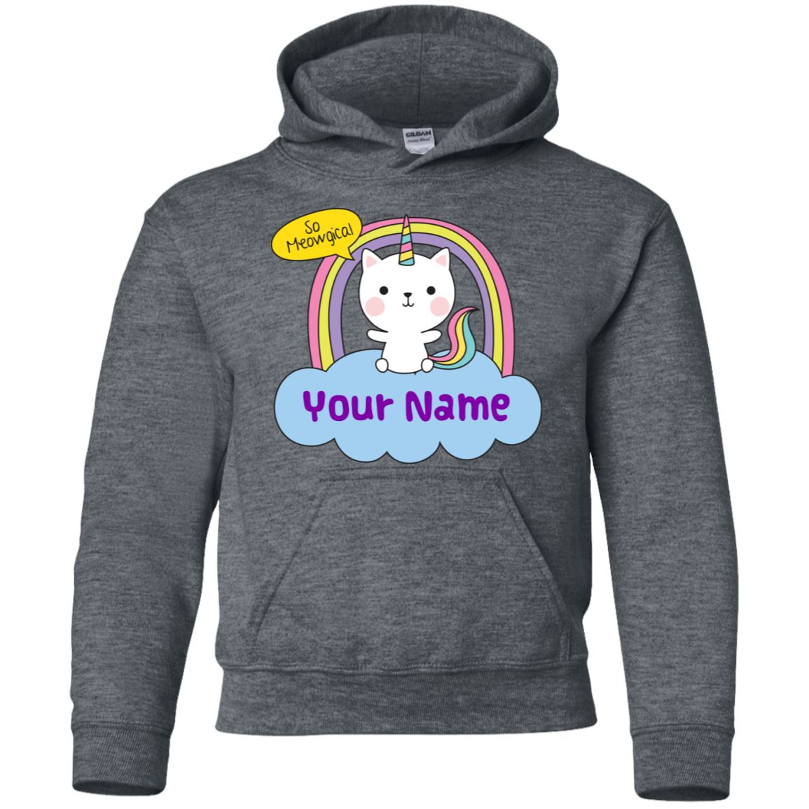 Personalized Meowgical Youth Pullover Hoodie Sweatshirts Dark Heather YS