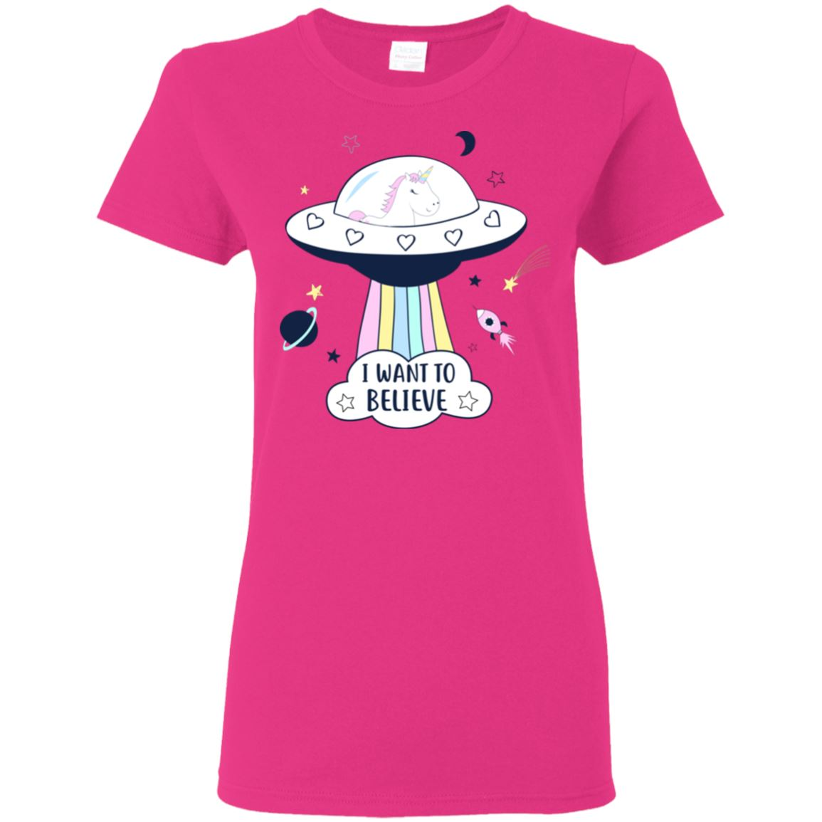 I Want To Believe Unicorn Women's T-Shirt T-Shirts Heliconia S