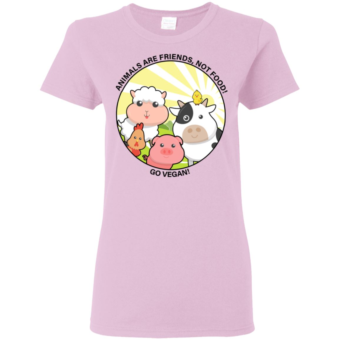Animals Are Friends Apparel Women's Tshirt Light Pink S