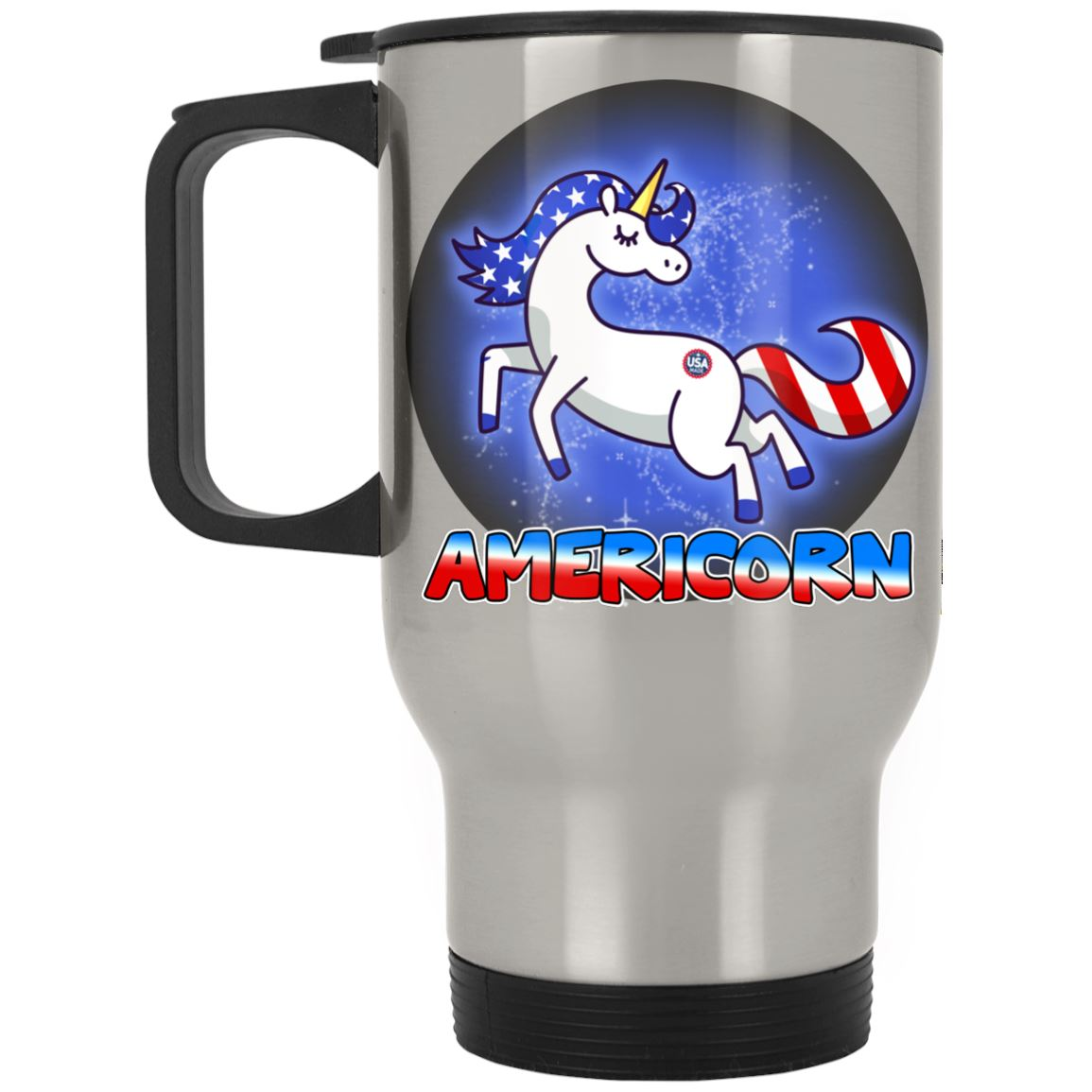 Americorn Stainless Travel Mug Drinkware Silver One Size