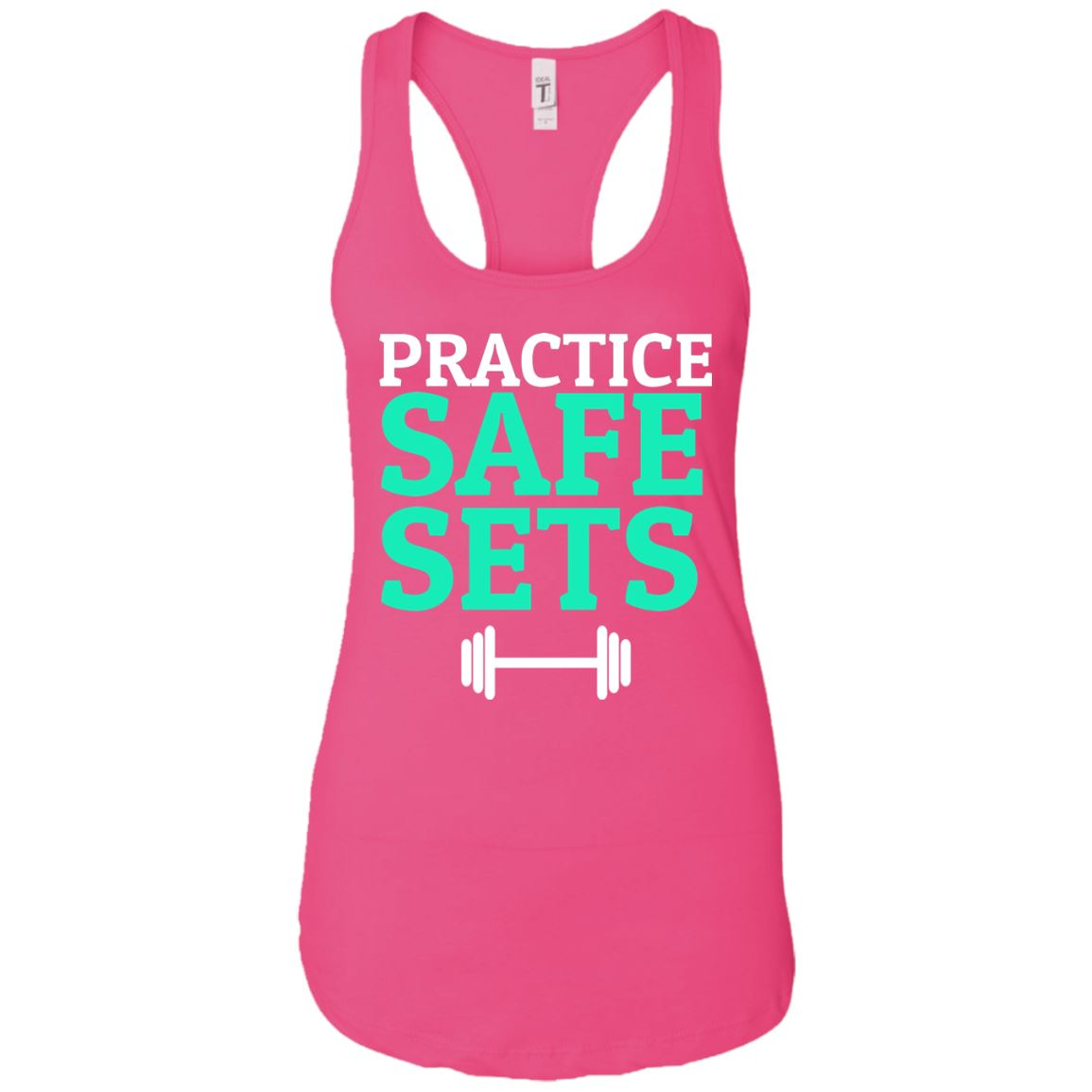 Practice Safe Sets Womens Racerback Tank T-Shirts Raspberry X-Small