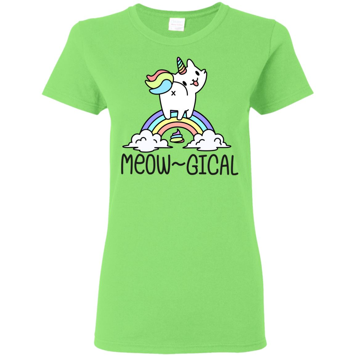 Meowgical Kitty Unicorn Women's T-Shirt Apparel Lime S