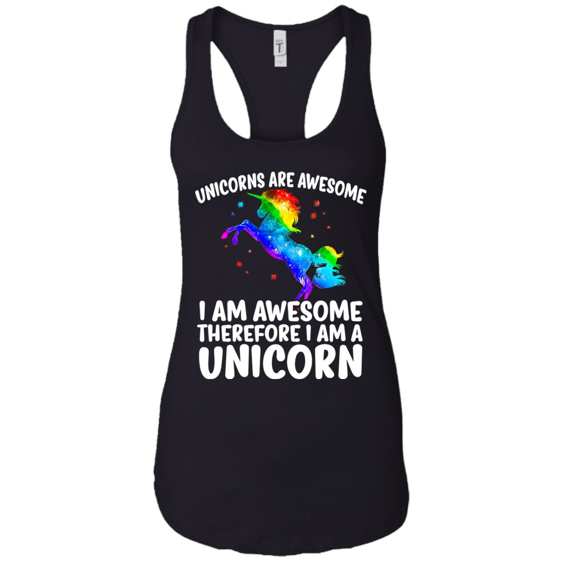 Unicorns Are Awesome Ladies Racerback Tank Apparel Black X-Small