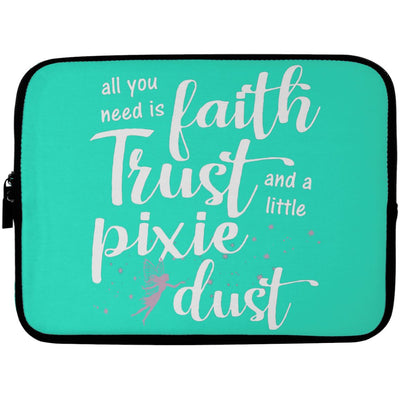 Pixie Dust Fairy Laptop Sleeve Apparel Laptop Sleeve - 10 inch Teal One Size