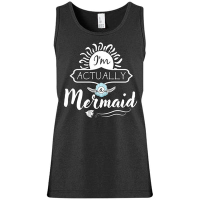 I'm Actually A Mermaid Girls Tank Top Mermaid Apparel Black YXS