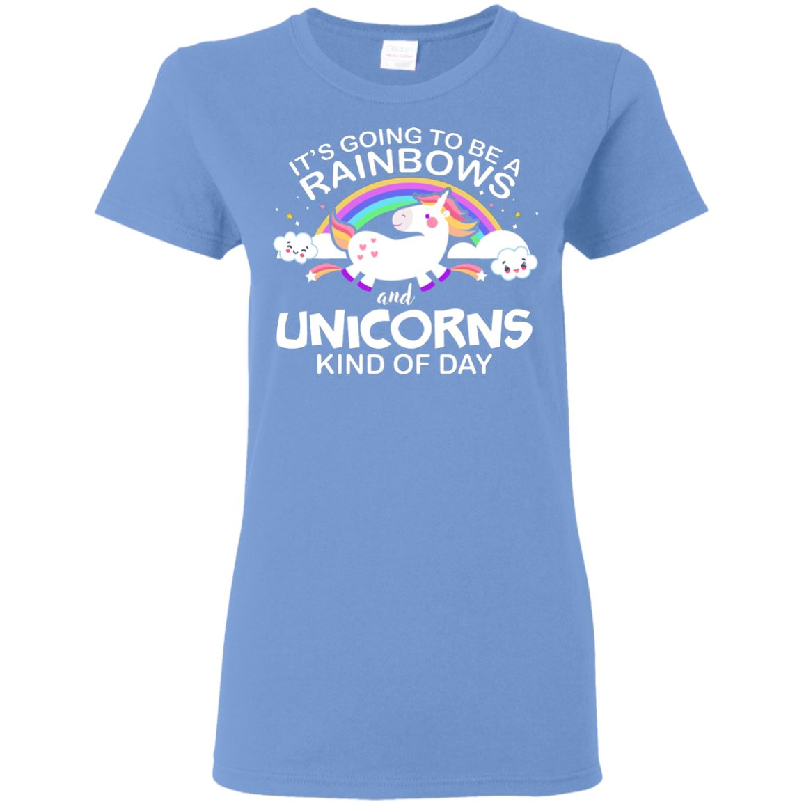 Unicorn & Rainbow Kind of Day Women's T-Shirt Apparel Carolina Blue S