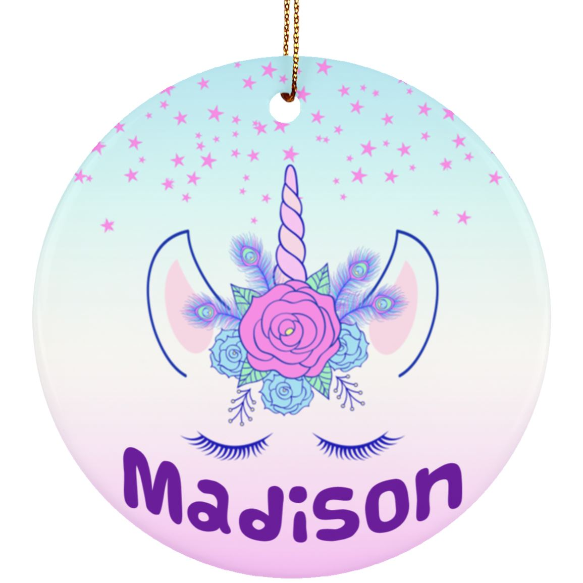 Unicorn Flowers Personalized Ornament Housewares White One Size