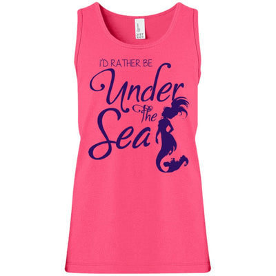 Under The Sea Girls' Tank Top Mermaid Apparel Neon Pink YXS