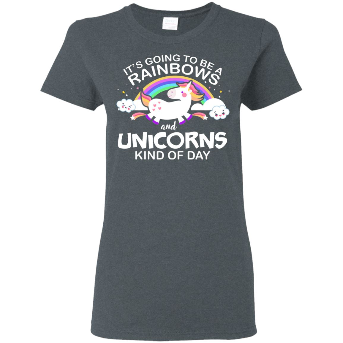Unicorn & Rainbow Kind of Day Women's T-Shirt Apparel Dark Heather S