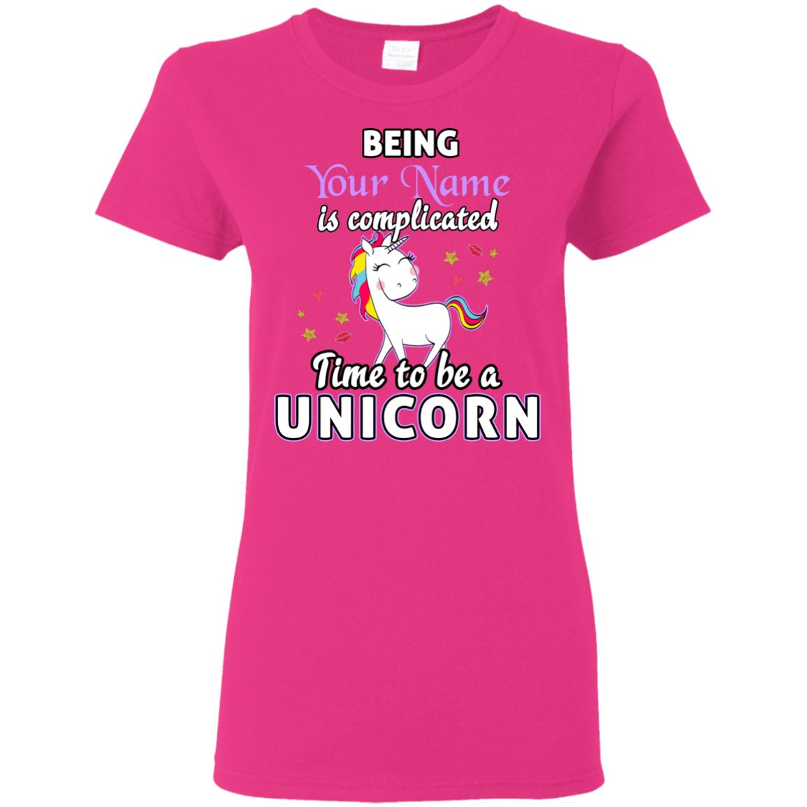 Time To Be A Unicorn Personalized T-Shirt Apparel Heliconia S