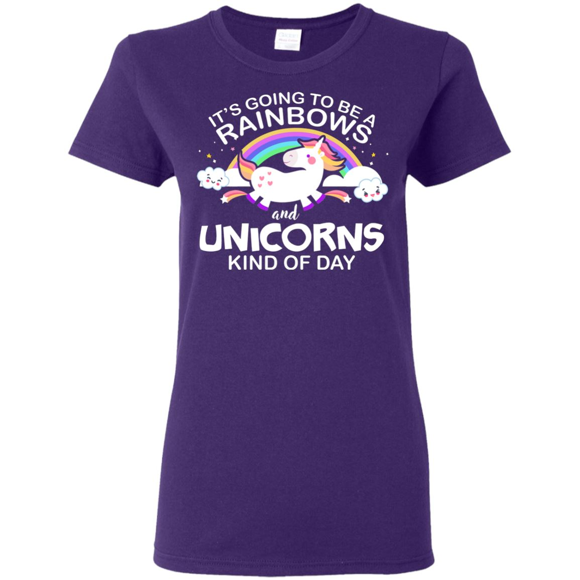 Unicorn & Rainbow Kind of Day Women's T-Shirt Apparel Purple S