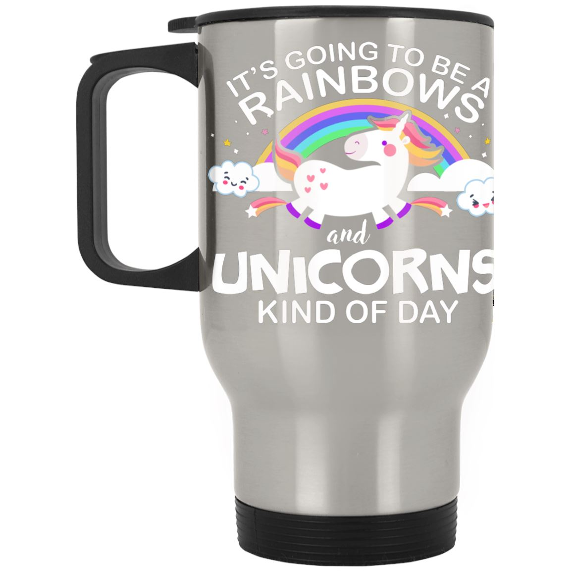 Rainbow Unicorn Days Stainless Travel Mug Drinkware Silver One Size