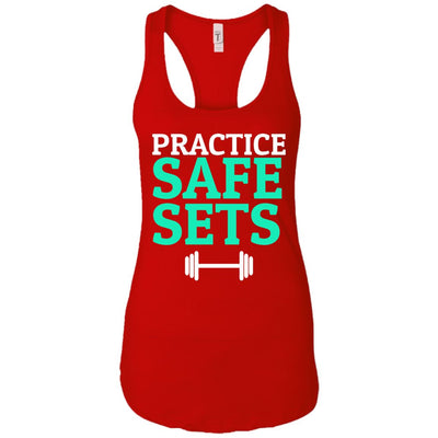 Practice Safe Sets Womens Racerback Tank T-Shirts Red X-Small