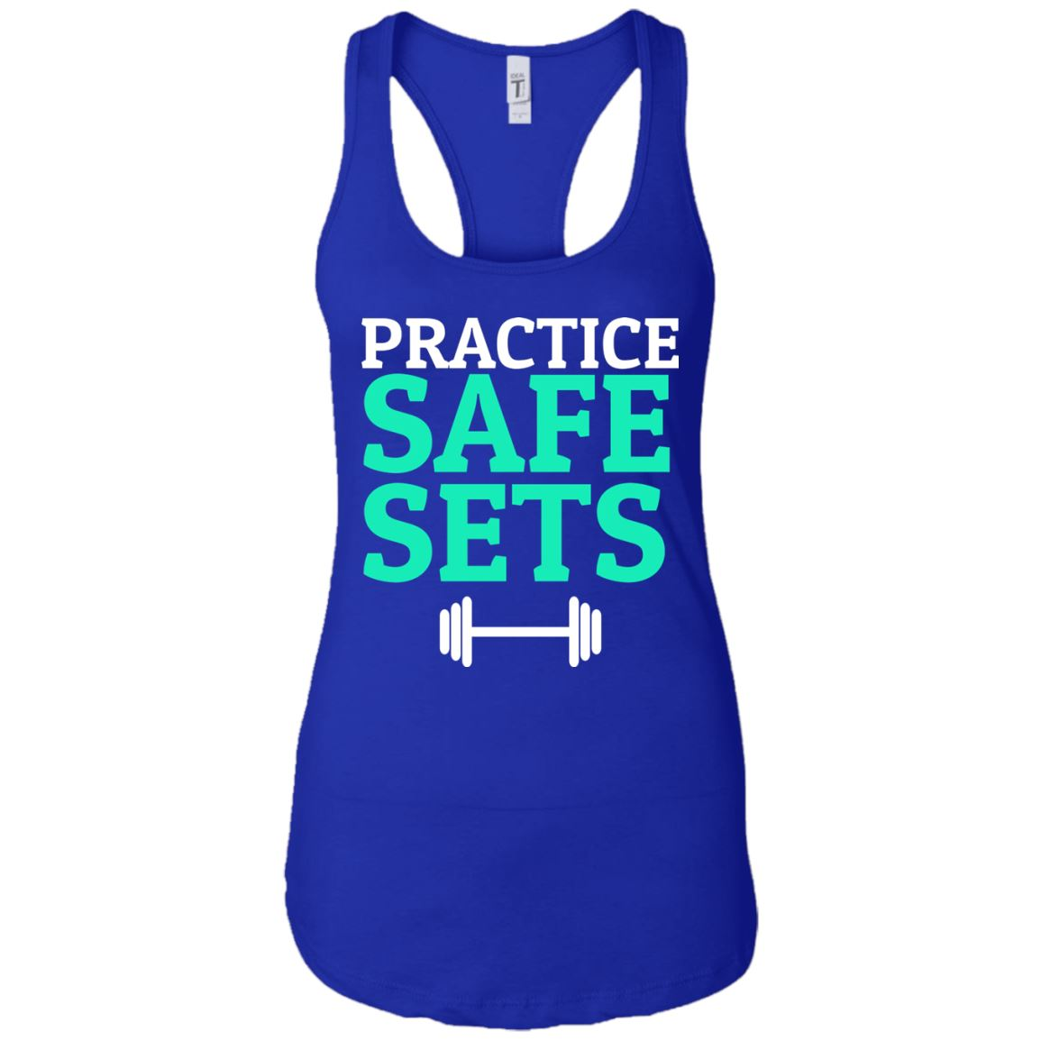 Practice Safe Sets Womens Racerback Tank T-Shirts Royal X-Small