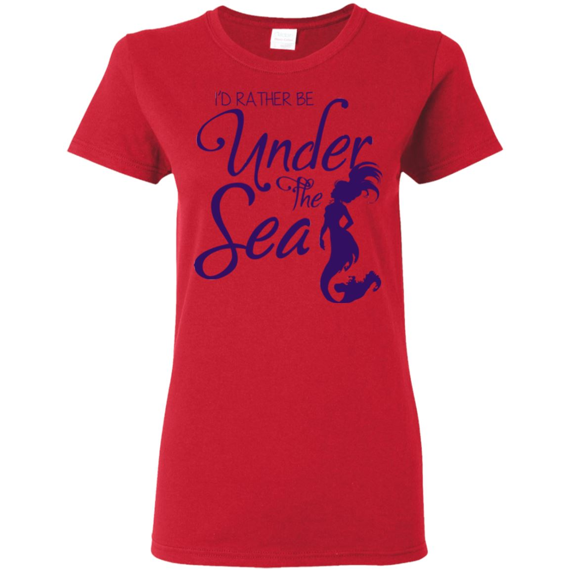 I'd Rather Be Under The Sea Ladies T-Shirt Mermaid Apparel Red S