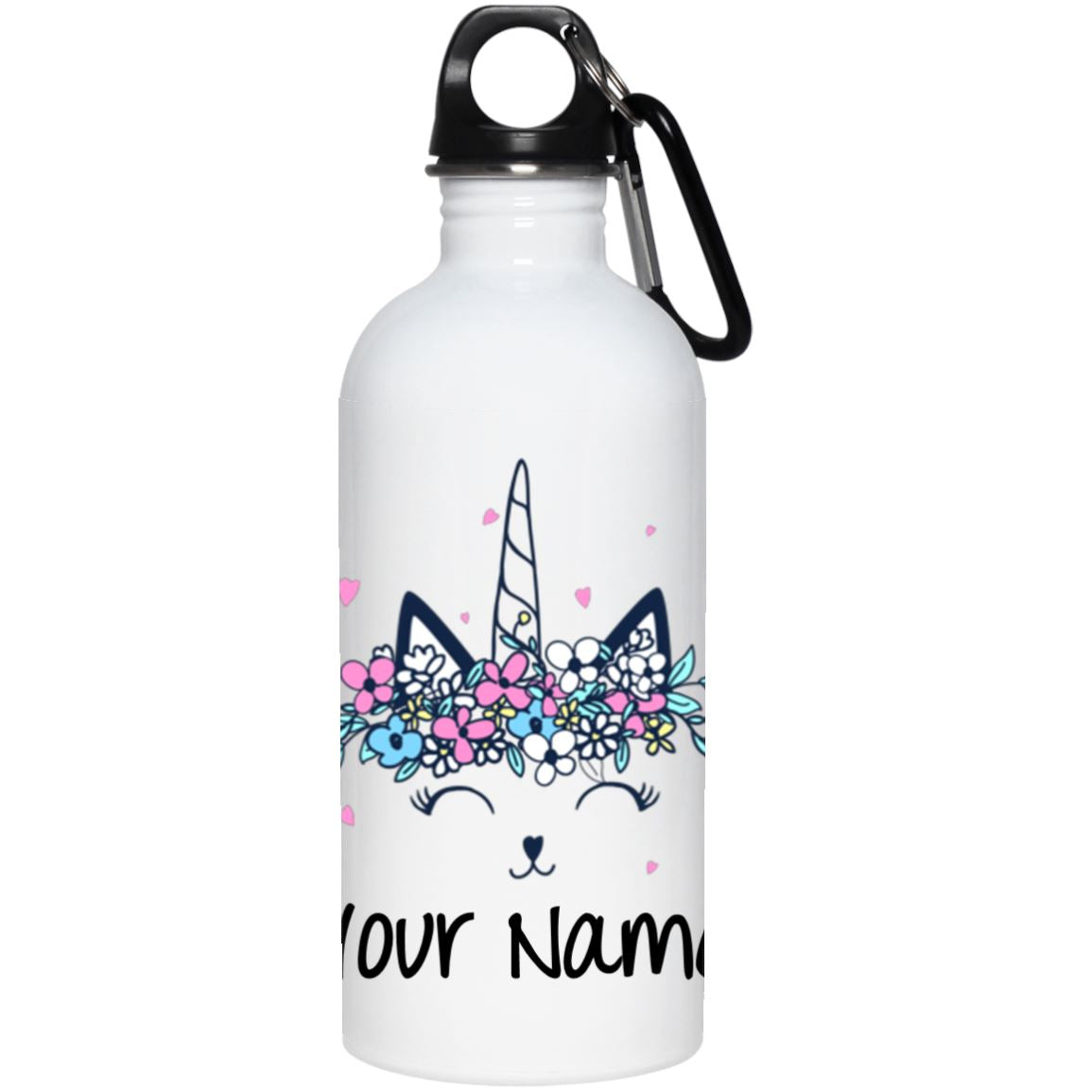 Personalized Kitty Cat Unicorn Stainless Steel Water Bottle Drinkware One Size