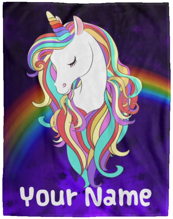 Personalized Magical Unicorn Cozy Plush Fleece Blanket - 60x80 Blankets 60 x 80