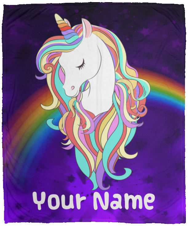 Personalized Magical Unicorn Cozy Plush Fleece Blanket - 50x60 Blankets 50 x 60