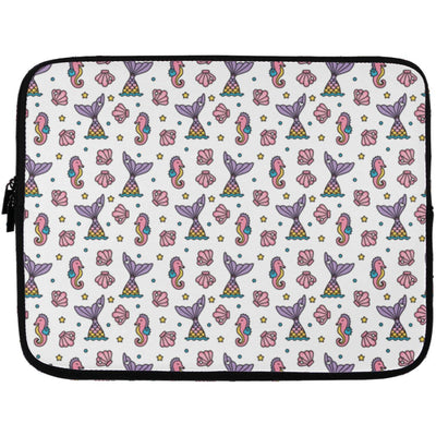 Seahorses & Tails Laptop Sleeve Mermaid Accessories Laptop Sleeve - 13 inch White One Size