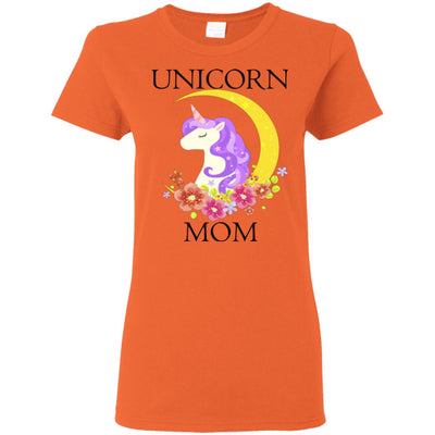 Unicorn Mom Ladies T-Shirt Apparel Orange S