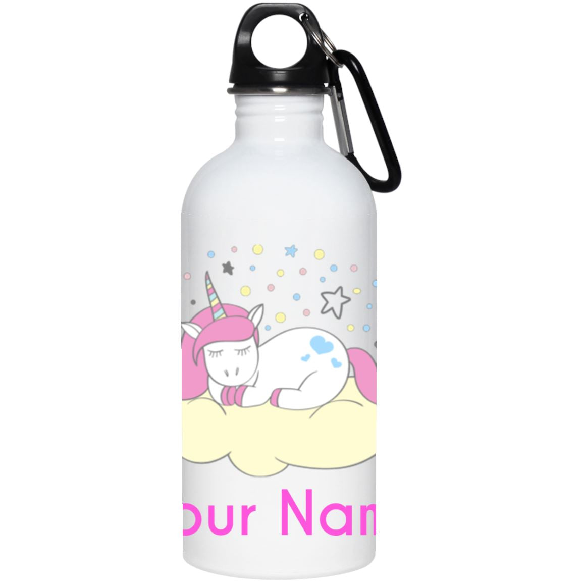 Personalized Sleeping Unicorn Stainless Water Bottle Drinkware One Size