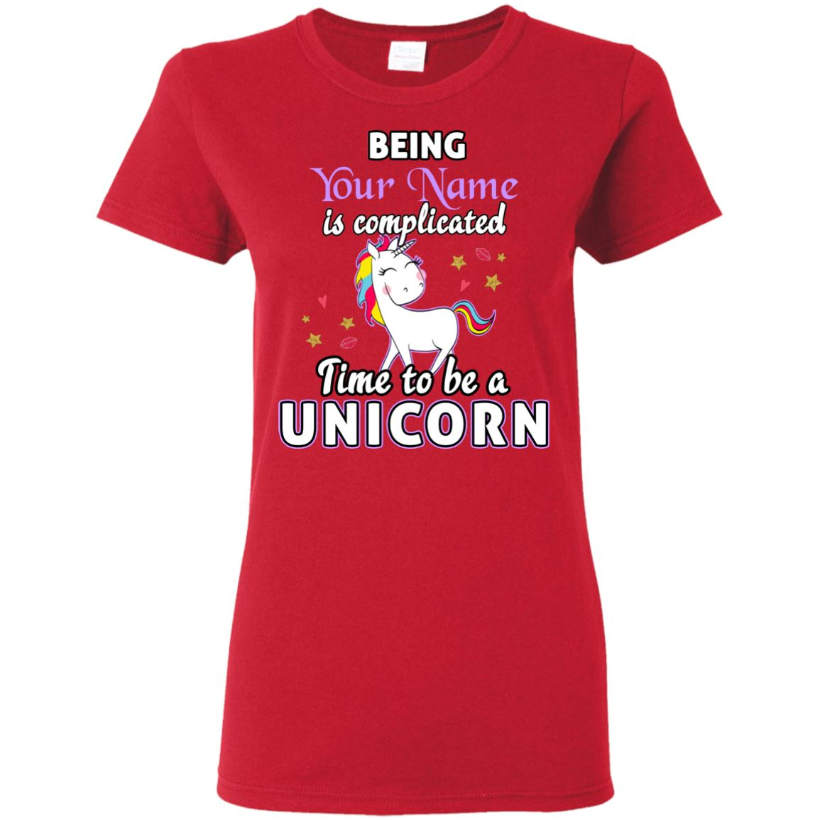 Time To Be A Unicorn Personalized T-Shirt Apparel Red S