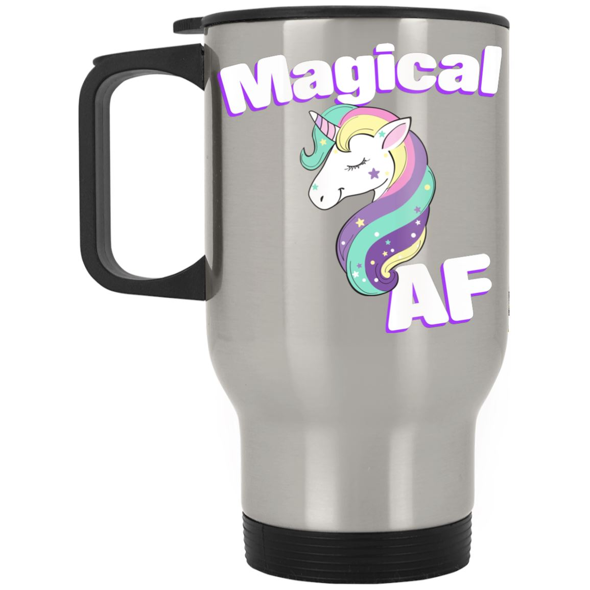 Magical AF Unicorn Stainless Travel Mug Drinkware Silver One Size