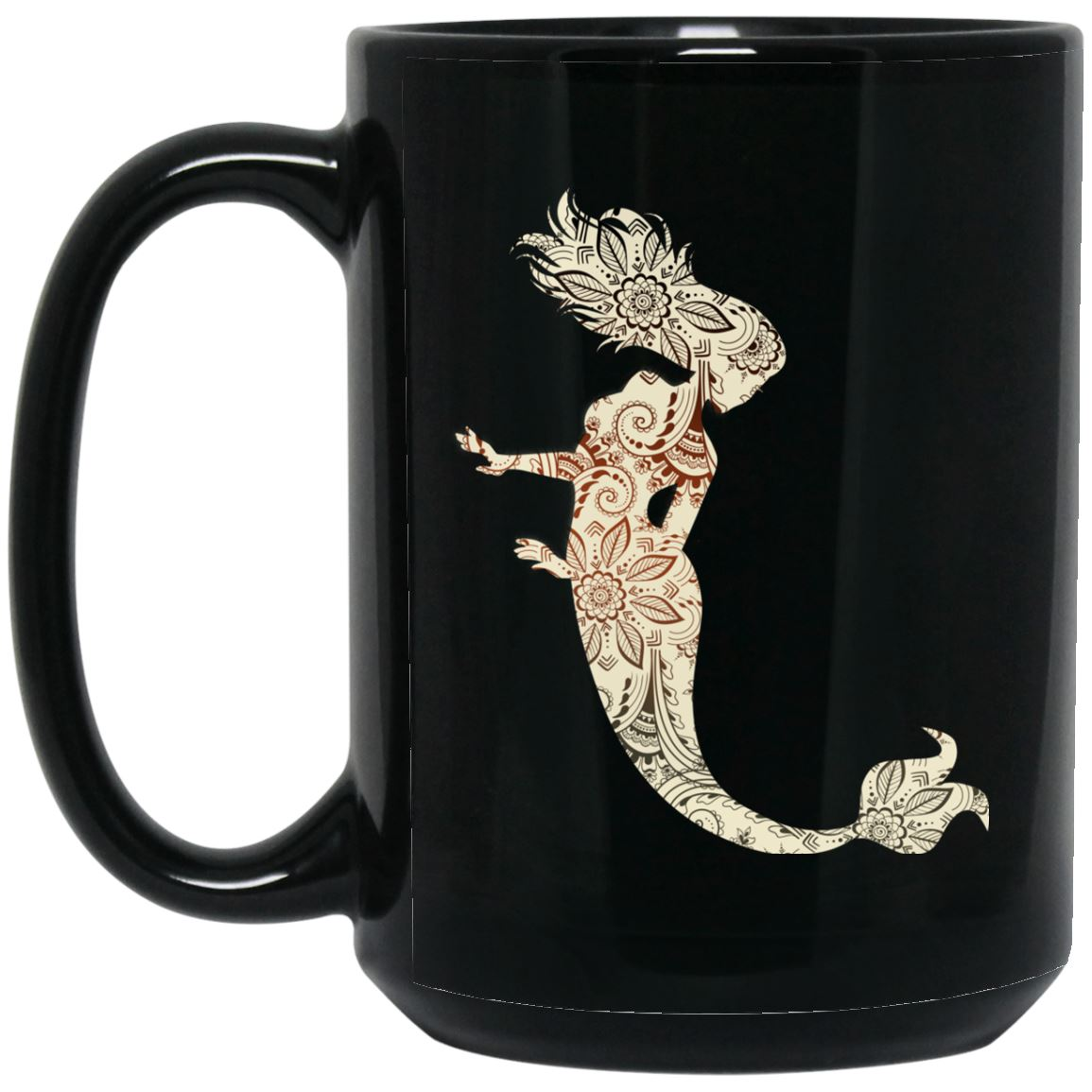 Mermaid Art 15 oz. Black Mug Drinkware Black One Size