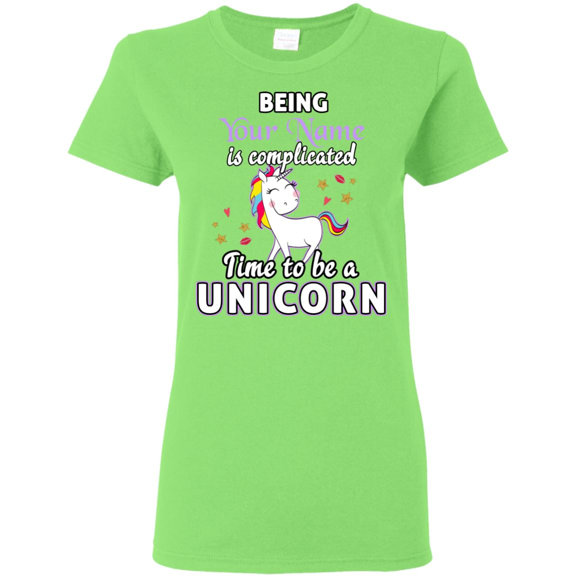 Time To Be A Unicorn Personalized T-Shirt Apparel Lime S