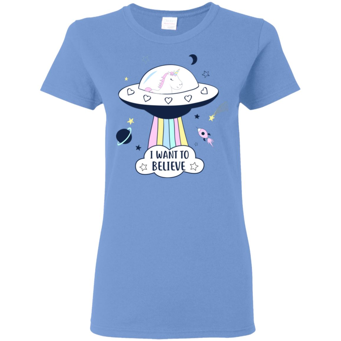 I Want To Believe Unicorn Women's T-Shirt T-Shirts Carolina Blue S