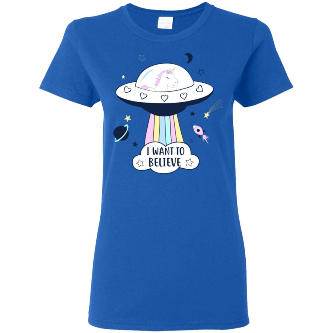 I Want To Believe Unicorn Women's T-Shirt T-Shirts Royal S