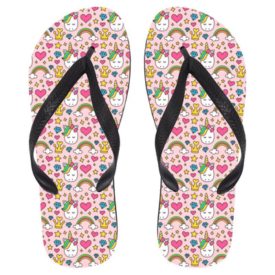 Diamond Unicorn Flip Flops Apparel Large White