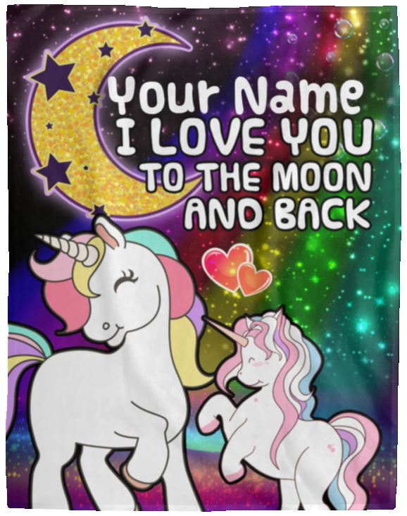Personalized Unicorn Moon Cozy Plush Fleece Blanket - 60x80 Blankets 60 x 80