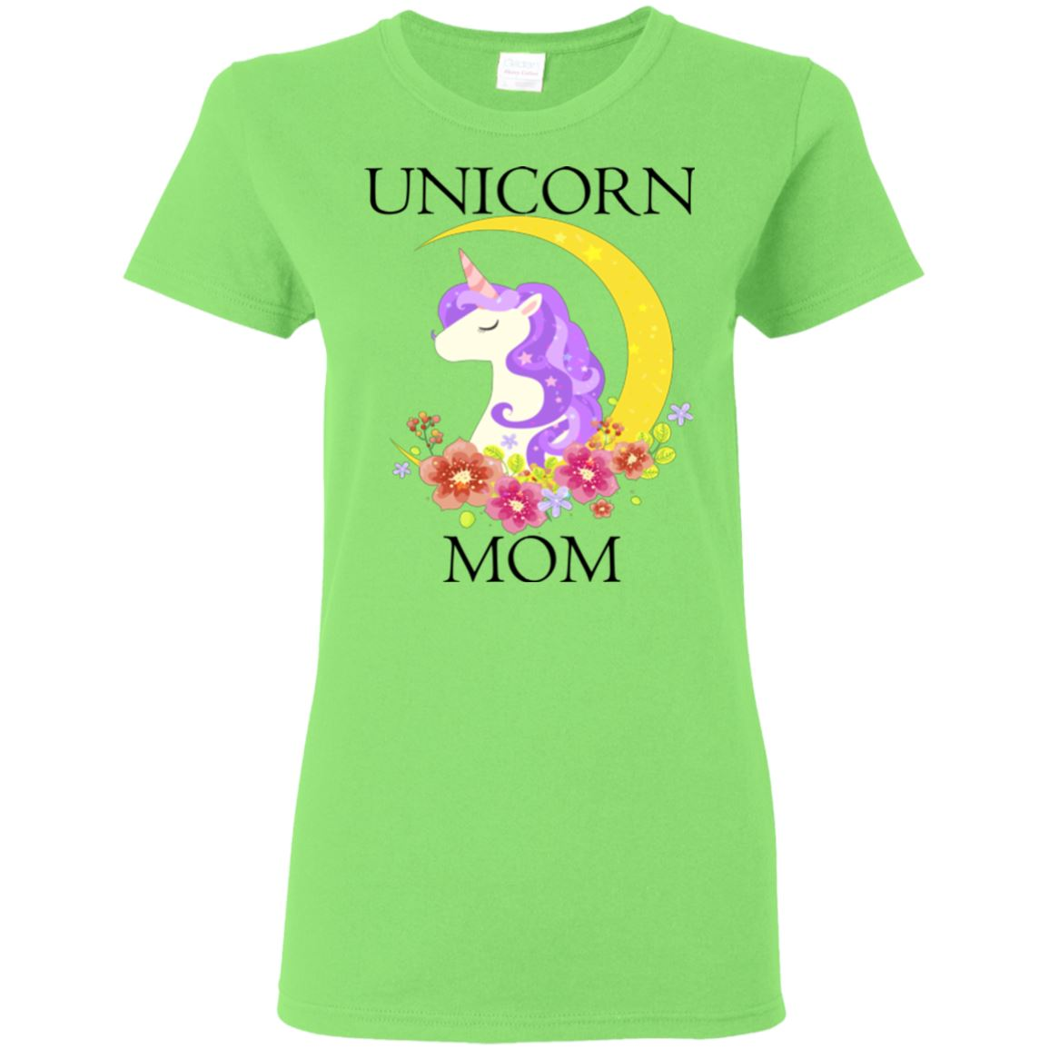 Unicorn Mom Ladies T-Shirt Apparel Lime S