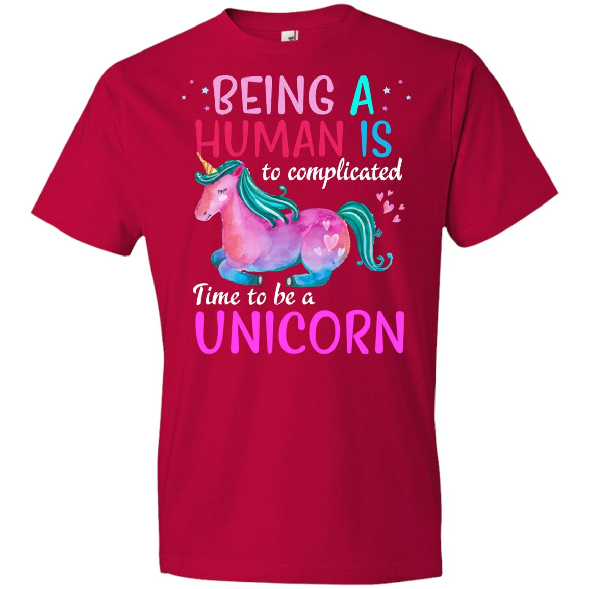 Time To Be A Unicorn Youth T-Shirt Apparel Red YXS