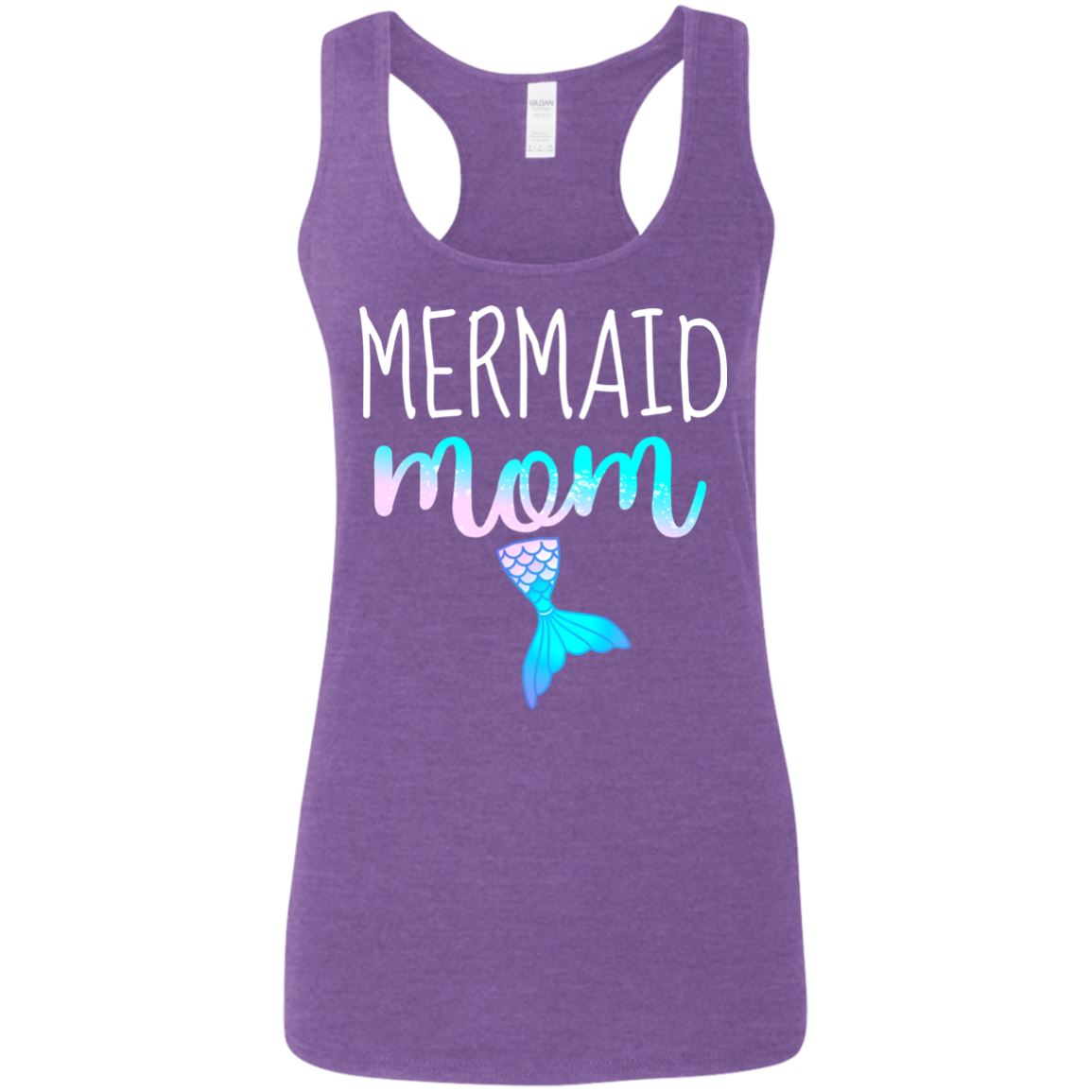 Mermaid mom Racerback Tank T-Shirts Heather Purple S